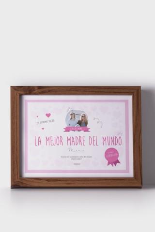 Diploma personalizable A la mejor madre del mundo