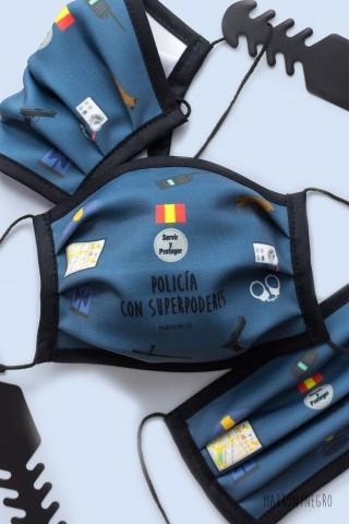 Mascarilla Higiénica Reutilizable Homologada Policía con Superpoderes