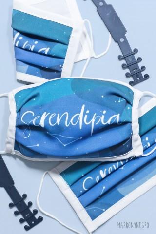 Mascarilla con diseño original Serendipia. Mascarill higiénica reutilizable