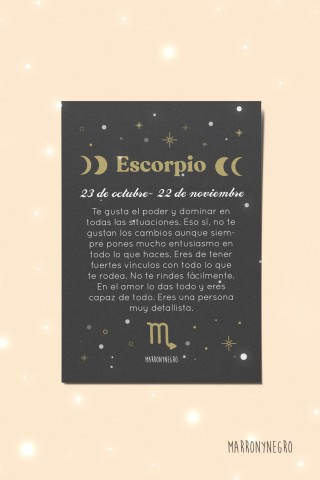 Postal Horóscopo Escorpio. Regalo original con signos zodiacales
