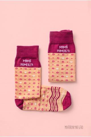 """Calcetines largos para mujer con dibujos y mensaje """"Mamá molona"""""""
